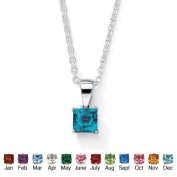 PalmBeach Jewelry 5063012 Sterling Silver Princess-Cut Birthstone Pendant and Chain December - Simulated Topaz