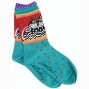 K Bell 86187 Laurel Burch Socks-Polka Dot Cats -Turquoise