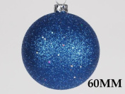 Queens of Christmas WL-ORN-BLKG-60-BL-W 60mm Glitter Blue Ball Ornament with Wire