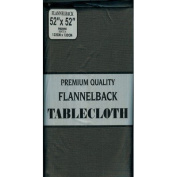 Carnation Home Fashions Vinyl Tablecloth with Polyester Flannel Backing, 130cm by 130cm , Black