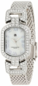 Charles-Hubert Paris 6792-W Chrome Finish White MOP Dial with Stainless Steel Mesh Band Watch