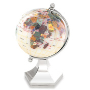 Alexander Kalifano GLP110BS-OPL 4 in. Gemstone Globe with Bright Silver Contempo Stand - Opal