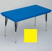 Correll Ar2448-Rec-28 Rectangular Blow-Molded Activity Tables - Standard Legs - Yellow