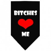 Mirage Pet Products Bitches Love Me Screen Print Bandana for Pets, Large, Black