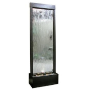 Alpine Mirror Silver with Decorative Stones Lighted Waterfall Outdoor Fountain