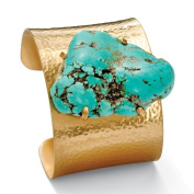 PalmBeach Jewelry 50824 Nugget Genuine Turquoise Goldtone Metal Textured Cuff Bracelet Adjustable 8 to 10