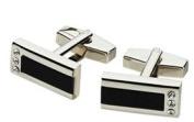 Visol VCUFF601 Reno Black Lacquer Crystal Cufflinks