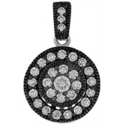 Doma Jewellery DJS03157 Sterling Silver (Rhodium Plated) Pendant with Black Rhodium and CZ
