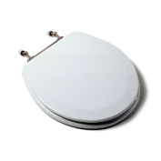 Comfort Seats C1B4R2-00BN Deluxe Moulded Wood Toilet Seat with Brushed Nickel Hinges, Round, White