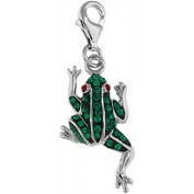Doma Jewellery DJS01587 Sterling Silver Crystal Charm - Frog