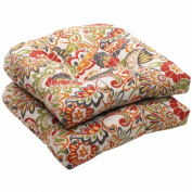 Outdoor 2-Piece Wicker Conversation/Deep Seating Cushion Set - Green/Off-White/Red Floral