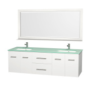 Wyndham Collection Bathroom Centra 180cm . Double Vanity in White with Glass Vanity Top in Aqua and Square Porcelain Under-Mounted Sinks WCV00972WHGRDB