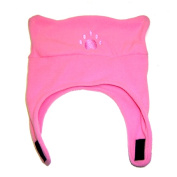 BearHands Chin Strap Baby Girls Fleece Paw Hat - Light Pink Infant & Toddler Toddler