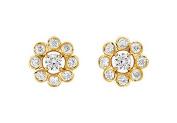 FineJewelryVault UBER2738Y14D-101 Diamond Flower Earrings : 14K Yellow Gold - 0.75 CT Diamonds