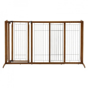 Richell R94190 Deluxe Freestanding Pet Gate with Door Large Brown 61.8 - 90.2 in. x 27 in. x 36.2 in.