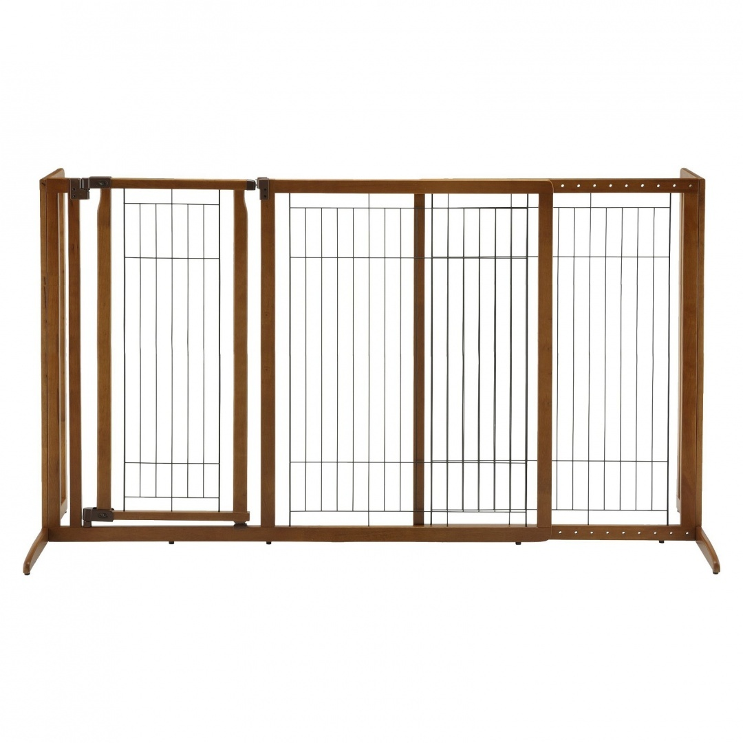 Richell R94190 Deluxe Freestanding Pet Gate With Door Large Brown