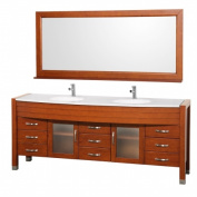 Wyndham Collection WCV220078CHWH Cherry with White Man-Made Stone Top with White Integral Sinks