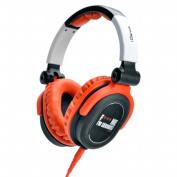 FULL-RANGE HEADPHONES DESIGNED FOR DJS W/SWIVEL CUP & NEODYMIUM MAGNET & REMOVABLE CORD ORANGE & WHI