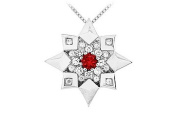 FineJewelryVault UBPD1865W14DR-101 Ruby and Diamond Star Pendant : 14K White Gold - 0.66 CT TGW