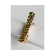 Zirconmania 610R-15008PD Goldtone Pave Green Crystal Elongated Bar Stretch Ring