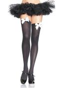 Leg Avenue Black and White Opaque Thigh High with Bow 6255LEG_W Black/White