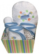 Dee Givens & Co-Raindrops 84510 Blue Whale Bubbles n Stripes Wash Cloth Gift Set - Blue - 22.9cm . x 22.9cm .