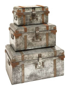 Woodland Import 38180 Galvanized Trunk with Rivets and Metal Strips - Set of 3