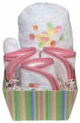 Dee Givens & Co-Raindrops 83510 Pink Duck Bubbles n Stripes Wash Cloth Gift Set - Pink - 22.9cm . x 22.9cm .
