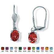 PalmBeach Jewelry 4785107 Oval-Cut Simulated Birthstone Silvertone Metal Drop Earrings July - Simulated Ruby