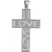 Doma Jewellery DJS03432 Sterling Silver (Rhodium Plated) Cross Pendant and Extension Leather Necklace