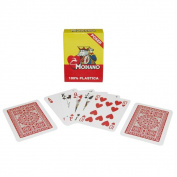 Modiano 100 Percent Plastic Poker Size Reg Index Red Single Deck