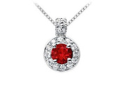 FineJewelryVault UBPD462W14DR-101 Ruby and Diamond Pendant : 14K White Gold - 1.25 CT TGW