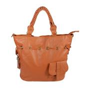 Blancho Bedding XXA174-TAN Romantic Trip Tan Leatherette Satchel Bag Handbag Purse Shoulder Bag Tote Bag with Tassels