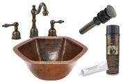 Premier Copper Products BSP2_LH15.5DB Hexagon Under Counter Hammered Copper Sink with Widespread Faucet, Oil Rubbed Bronze