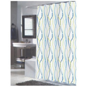Carnation Home Fashions 100-Percent Polyester Fabric Print 180cm by 210cm Shower Curtain, X-Long, Claire, Blue/Yellow Stripes