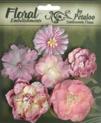 Floral Embellishments Mixed Blooms 6/Pkg-Mauve