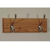 Wooden Mallet HCR-2NLO Double Hook Coat Rack in Light Oak - Nickel