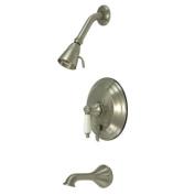 Kingston Brass KB36380PL Restoration Tub and Shower Faucet with Porcelain Lever Handle, Satin Nickel