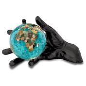 Alexander Kalifano HANDGM-BB 4 in. Gemstone Globe with Gunmetal World in Your Hand - Bahama Blue Ocean