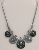 IWGAC 049-40520 Silver Tone and Black Necklace