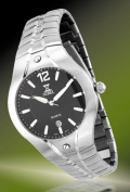 Nobel Watch N 781 G Stainless Steel Gents Watch Black Dial with White Hour-hands Sapphire Crystal Swiss Movement Water-resisant 3 ATM
