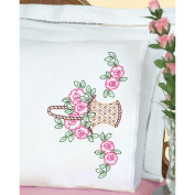 Jack Dempsey Stamped Pillowcases W/White Lace Edge 2/Pkg