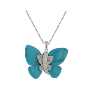 Vera and Co 6S-4312TQ Sterling Recontstructed Turq Butterfly Pendant with CZ Center on 18 Chain