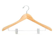 Proman GMD8810 Suit Hanger with Wire Clips Natural Lacquer- 50 Pieces-Cotton