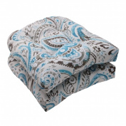 Pillow Perfect 504872 Outdoor Paisley Wicker Seat Cushion in Tidepool - Set of 2 - Gray-Turquoise