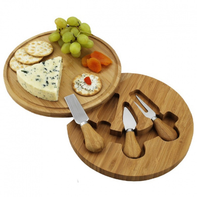 Picnic at Ascot CB12 Feta Cheese Board Set - Round - Bamboo