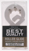 Excell 1ME-06000328100 White Best Quality Roller Glide Shower Curtain Hooks