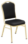 National Public Seating 9310-G Silhouette Vinyl Upholstered Stack Chair Panther Black with Gold Frame