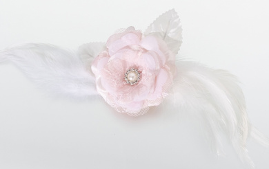 Lillian Rose JL237 PI Lace and Feather Hair Clip or Pin - Pink