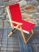 Blue Ridge Chair Works DFCH05WR Highlands Deck Chair - Red